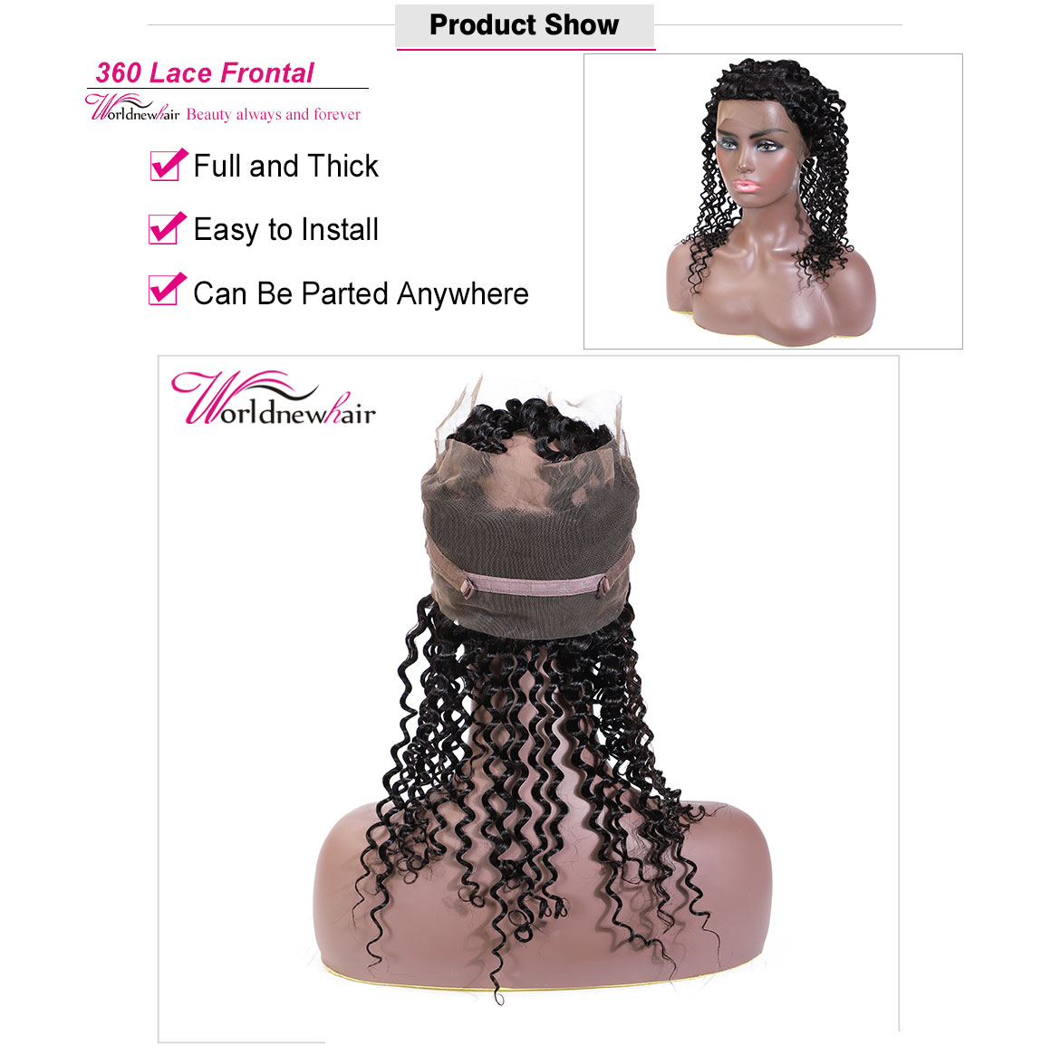 kinky curly 360 frontal with bundles,pre-plucked 360 lace closure frontal,