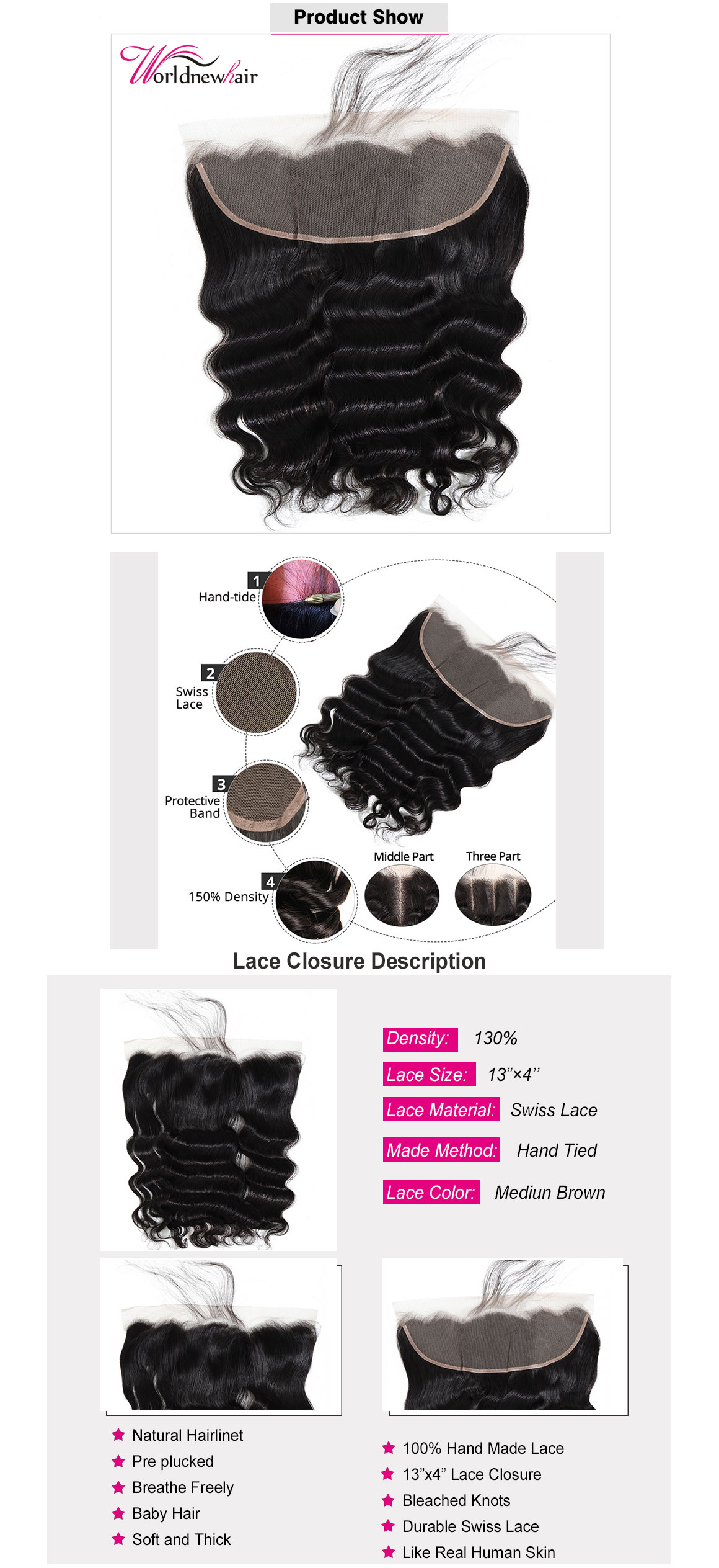 loose wave 13x4 lace frontal,lace closure with baby hair,loose wave 4x4 lace closure