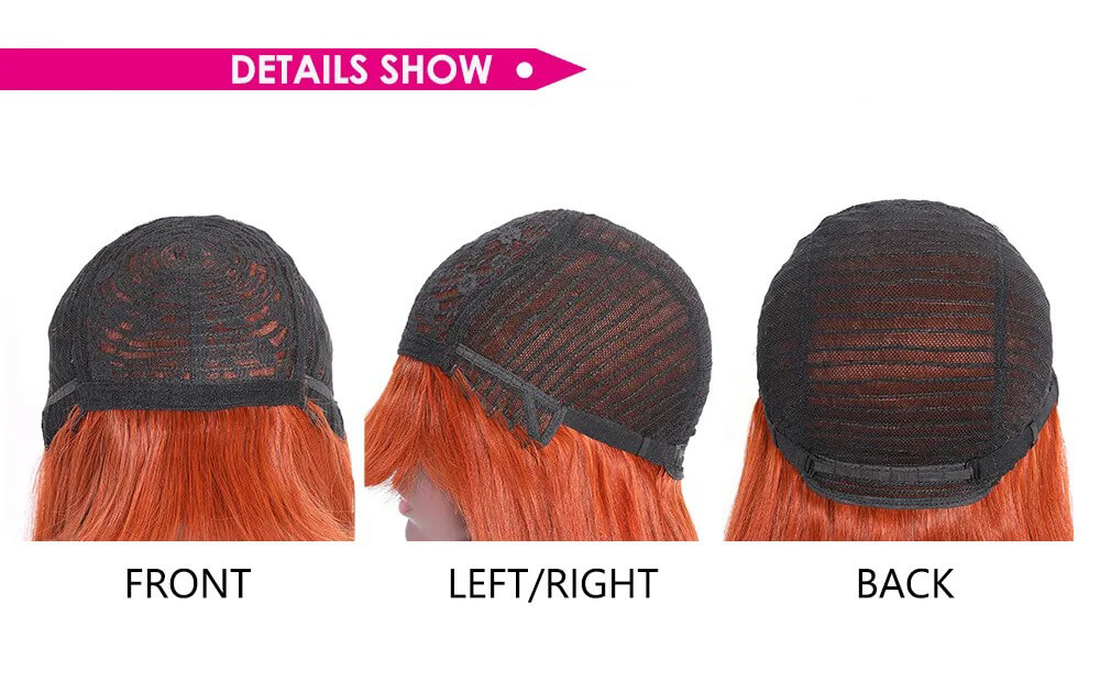 worldnewhair machine made wig orange ginger color straight wig